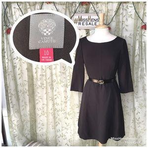 VINCE CAMUTO BLACK DUAL POCKET COCKTAIL DRESS